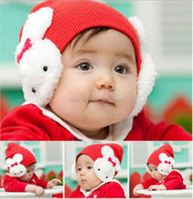 red pink black rose children knitted hat rabbit baby cap for winter