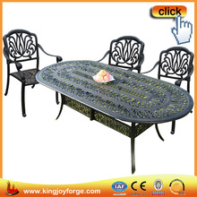 Oval outdoor leisure beautiful aluminum dining table and chair