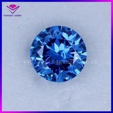 Aquamarine CZ stone round brilliant cut lab created gemstone