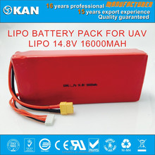 Rechargeable deep cycle battery for 2015 KAN powerful 14.8V 16000mAh LIPO battery pack for rc models, UAV, drones, quadcopter