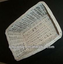 blanco lavado de mimbre cesta de mimbre rectangular