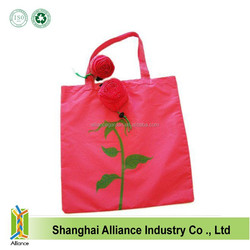 Red Rose Shape Beautiful Flower Nylon Tote Foldable Shopping Bag