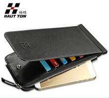 In Stocks 100% Genuine Leather Bank Card Wallet Zipper Coin Pocket Man's Slim Card Holder Wallet