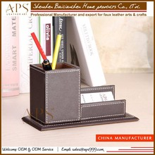 Desk Pen Pencil Namecard Box Holder Case Leather Stationery Storage Box Container