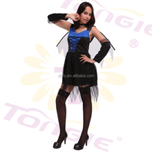 China wholesale high quality halloween black fancy dress sexy angel costumes with wing and oversleeve