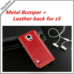 Luxury Metal Frame PU Leather Back Cover Case for Samsung Galaxy S5
