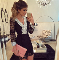 Wholesale Fashion Woman Sexy V-neck Long Sleeve Dresses , Womens Party Bodycon Dress Ladies Evening Lace Cocktail Dress