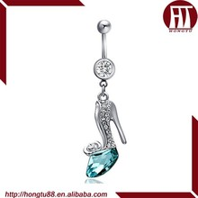 HT Beautiful Design Wholesale 316L Stainless High-heeled Shoes Nickel Free Belly Barbell Ring Navel Piercing Jewelry
