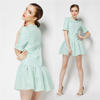 Silk jacquard technology Neck Dress,ladies casual dresses pictures