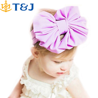 Hot Sale Kids Hair Accessories Girls Solid Color Cotton Knitted Stretch Large Bow Headband