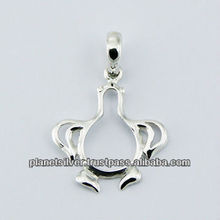 Small Sterling Silver Pendant Cute Outlines Of A Penguin