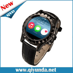 2015 western watch price QYD Leather Watch Strap Smart Watch phone with heart rate monitor