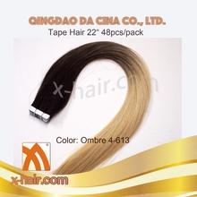 DARK BROWN TO PLATINUM BLONDE 100% CHINESE VIRGIN REMY HUMAN HAIR OMBRE COLOR TAPE HAIR