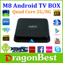 2015 best price Amlogic S802 Quad core tv box arabic iptv Android 4.4 TV Box M8 2G/8G Bluetooth 4.0