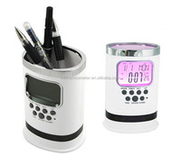 High Quality Digital Table Clock Plastic Pen Holder with Clock