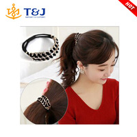 >>>>2015 IN STOCK New design Elastic gold plated hair rope for Girls Hair Band