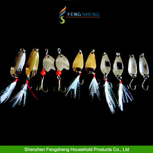 10pcs Fishing Lure Set Assorted Spinner Metal Spoon Bait Bass Pike Trout Salmon