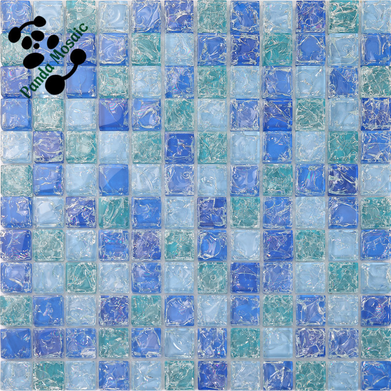 Mb Sms14 Ice Cracked Broken Glass Mosaic Tile Blue Mosaic Tile