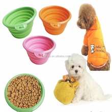 Silicone Pet travel bowl Covered pet food bowl Folding pet bowl