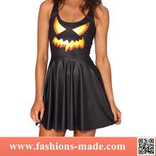 2015 Womens 3D Digital Printed Pumpkin ghost lantern put on a large umbrella pleated dress for sale