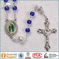 Hermoso epoxi San pieza central de cristal azul del rosario del grano