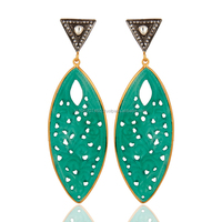 Made In 22K Yellow Gold Plated Green Onyx Earring, Silver Gemstone Crystal Dangler Earring