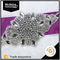 Decoration patch with crystal rhinestone work in blouse neck designs for clothes NRA131