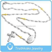 High Polish Gold Small Crucifix Rosary Christ Stainless Steel Cross Necklace for European Religious