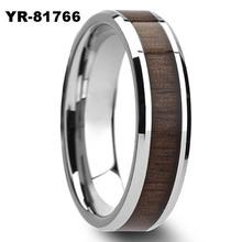 Men's Titanium Wood Inlay Ring Custom Fashion Gay Rings For Wholesale