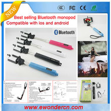 Best selling Selfie stick extendable bluetooth monopod for android phones Iphones digital camera