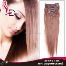 Wholesale top quality no tangle no shedding full head colored clip in hair extension