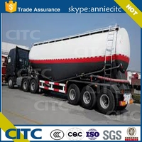 High quality V shape 60m3 bulk cement tank semi trailer / dry powder tanker trailer for sale