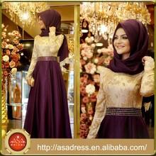 ATE18 New Arrival Elegant Abaya Kaftan Gold and Purple Beaded Hijab Muslim Evening Dresses with Long Sleeves