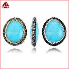 Fashion howlite tibetan turquoise beads pave with diamond, stone for jewelry make, cubic zircon paved on cap