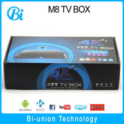 quad core android tv box s802 processor 2.0ghz kodi 14.2 with top addons m8 android tv box
