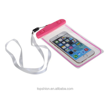 100% Waterproof Phone Pouch Case, for iPhone 6 and Smart Mobile Phone case waterproof bag with Fluorescent Effect