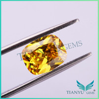 7*9mm dark goden yellow cushion cubic zirconia craft stone gem stone polishing