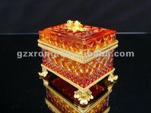 Vidrio cristalino del oro de la serie de lujo del COBRE y caja de joya del cobre VP-133