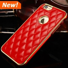 Luxury cell phone leather back cover + dual colors aluminum beauty bumper case for iPhone 6 plus