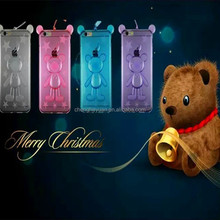 hot selling cartoon lanyard tpu transparent soft phone case for iphone 6 plus