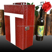 Item HSP105 leather wine carrier ,christmas wine bottle box,red wine bottle box