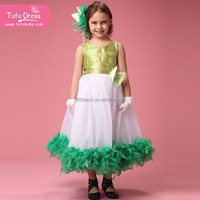 Fabulous green feather girls dress latest design cocktail dresses for children