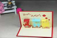 3d greeting birthday card of Train