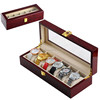 6 Grid Lacquer Wooden Watch Display Case Box Jewelry Storage Organizer