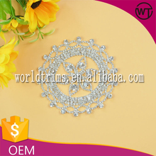 Factory direct wholesale crystal bridal beaded rhinestone appliques for wedding dress WRC28