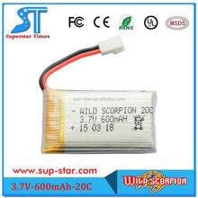 Wild scorpion high density rechargeable OEM/ODM 3.7V 600mAh battery lipo