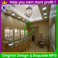 High end wooden jewelry display furniture with LED light