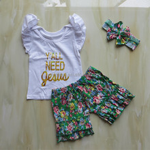 """New Design Cheaper Price Summer Clothes White T-Shirt wiht"""" yall need Jesus"""" Printing And Green Fabric Shorts Outfits"""