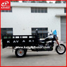 Open body gas power 3 wheelers pedal cargo tricycle for commercial