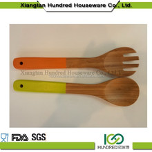 China wholesale high quality style bamboo fork silicone handle , kitchen utensils bamboo fork , cooking tool silicone handle